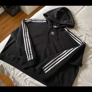 Adidas cropped striped hoodie